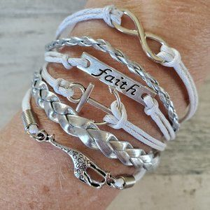 Silver and White Leather and cord Charm Bracelet